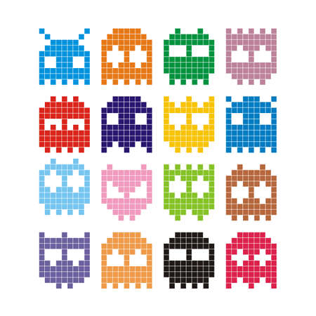 Pixel monster icon Stock Vector - 8978055