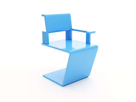 Blue modern plastic armchair isolated on white background photo