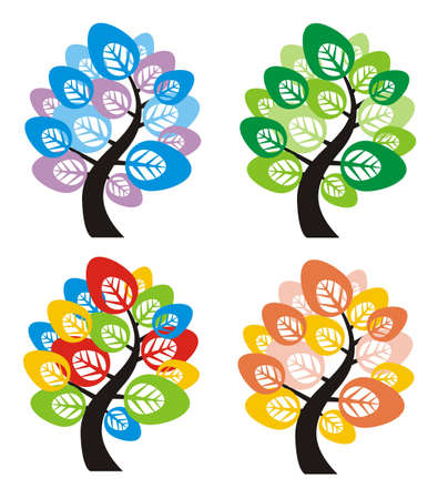 Four seasons tree Vector