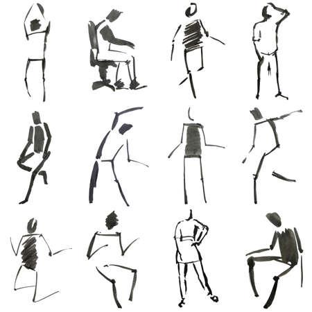 Esbozo de personas dibujadas de mano Foto de archivo - 9947479