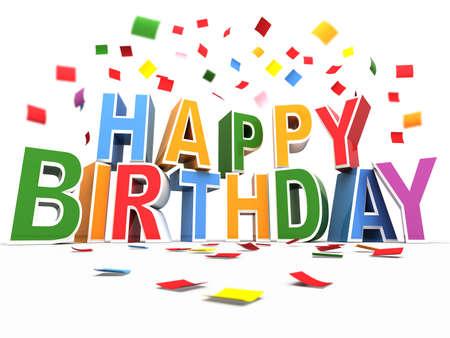 verjaardag frame: Gefeliciteerd met je verjaardag achtergrond met confetti Stockfoto