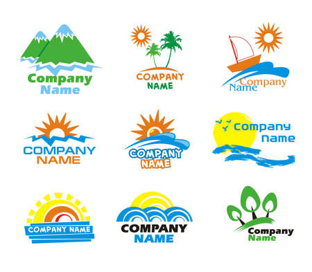 Tourism and vacation icons and logo design Illustration