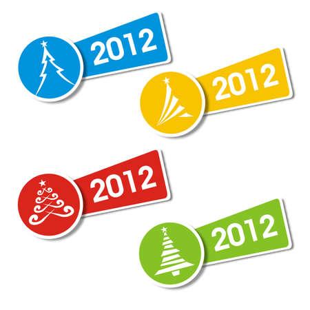 Christmas tree 2012 sticker Stock Vector - 10833468