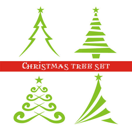 Set of christmas trees  矢量图像