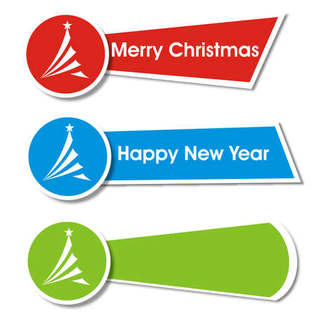 Set of christmas banners with christmas tree