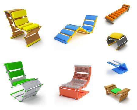 futuristic interior: creative furniture concept isolated on white background