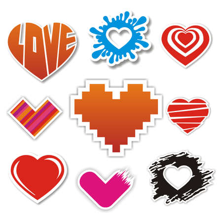 Vector heart stickers collection Vector