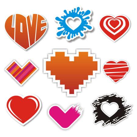 Vector heart stickers collection Stock Vector - 12052803
