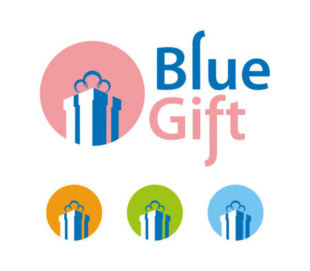 Blue gift vector icons
