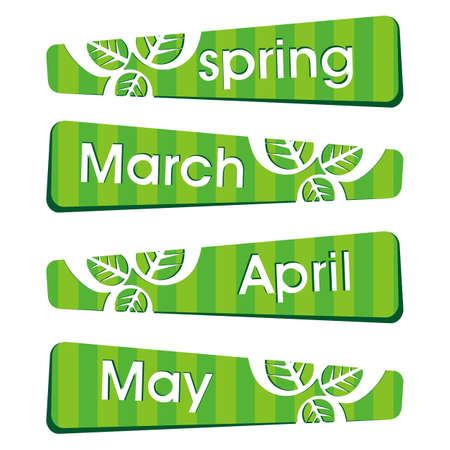 four month: Spring season stickers and label