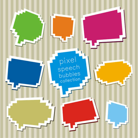 A collection of pixel speech bubbles. Vector illustration.