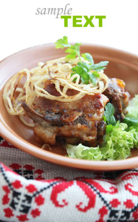 Pork ribs with onions and greens Stock Photo - 13511150