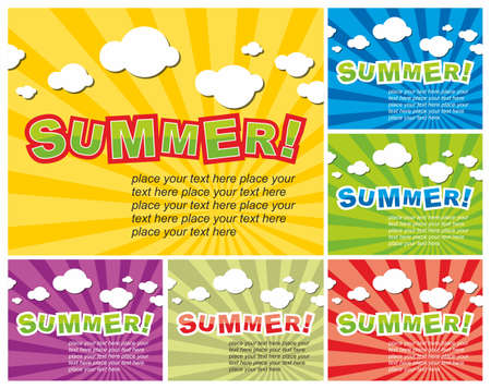 Set of colorful summer background Illustration