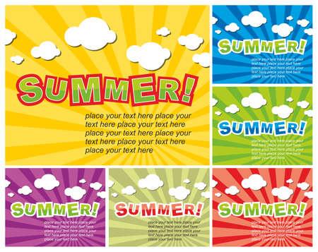 summer background: Set of colorful summer background Illustration