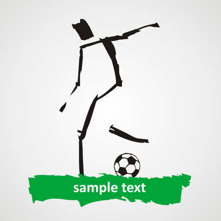 Soccer player kicks the ball   Illustration