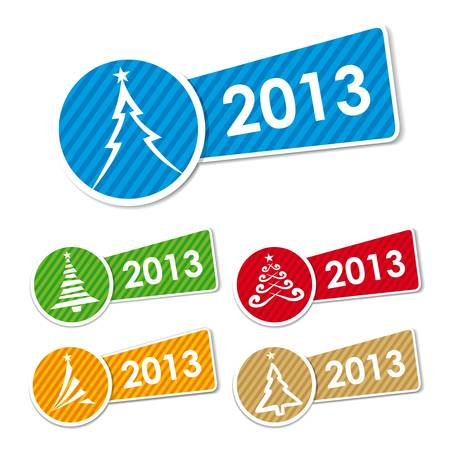 2013 Christmas tree icons and stickers Illustration