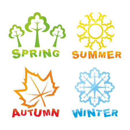 cuatro elementos: Coloridos iconos de estaciones Vectores