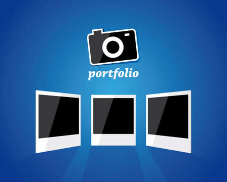 Photo camera and three photo frames for your portfolio