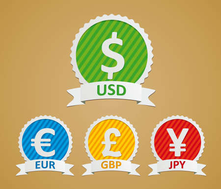 Currency Symbols - dollar, euro, yen and pound  Illustration