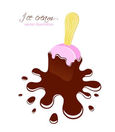 helado caricatura: La caída de helado ilustración vectorial Vectores
