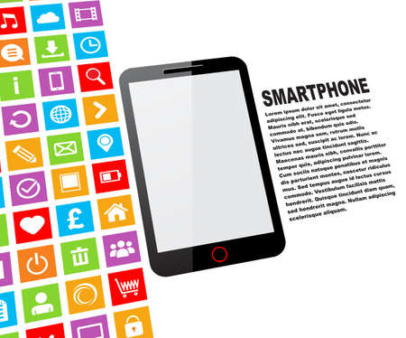 Black touchscreen smartphone with blank screen and colorful app icons Illustration