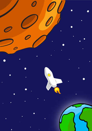 craters: Rocket Flying Through Outer Space. From Earth To Red Planet Illustration