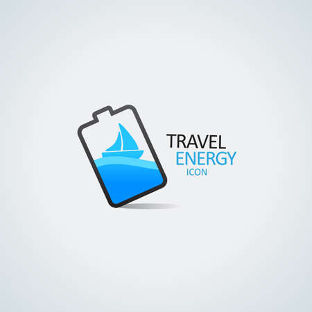 Travel energy icon  Yacht in the battery vector illustration   Illustration