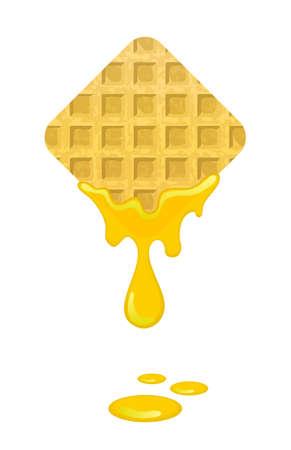 waffles: gofres recién horneados con miel Vectores