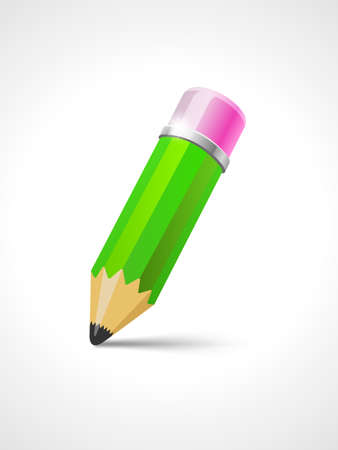 Green pencil with eraser - vector illustration for your design