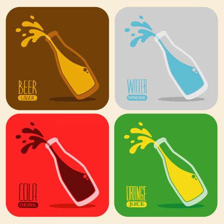set of retro drinks - splash beer, water, cola, orange juice in a glass bottle Illustration