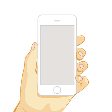 illustration of white smart phone in hand isolated on white background