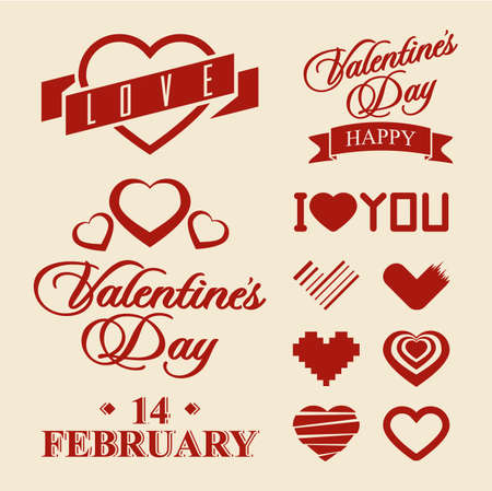 Valentine s Day symbols and design elements