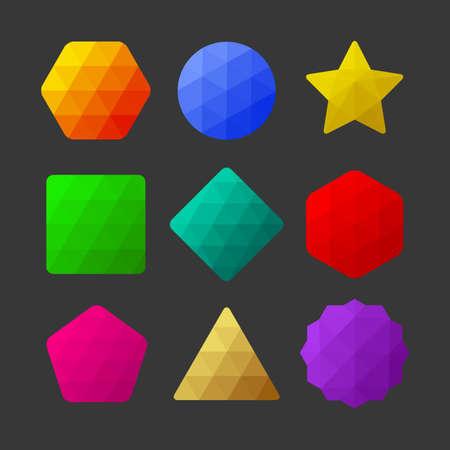 Set of design elements  Polygonal geometric figures