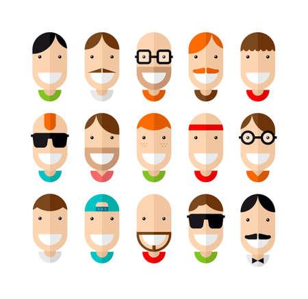 sorrisos: Masculino de sorriso feliz enfrenta set, design plano, ilustra