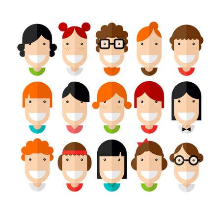 ladenkast: Happy lachende mooie jonge meisjes karakter met verschillende kapsel, plat ontwerp, illustratie