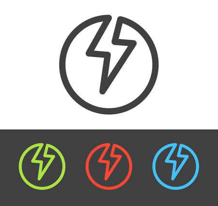 Vector lightning bolt icon set, line and flat design Illustration