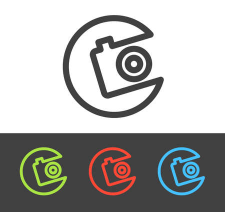 Vector camera icon set, line and flat design