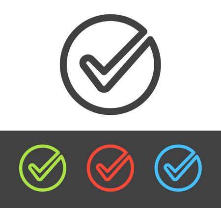 Vector confirm and check icon set, line and flat design Illusztráció