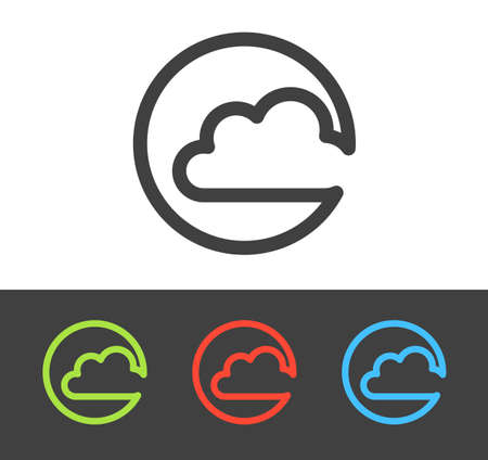 Vector cloud icon set, line and flat design