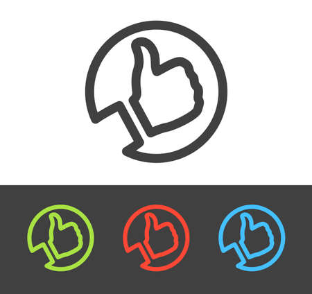 thumbs up icon: Vector thumbs up icon set, line and flat design
