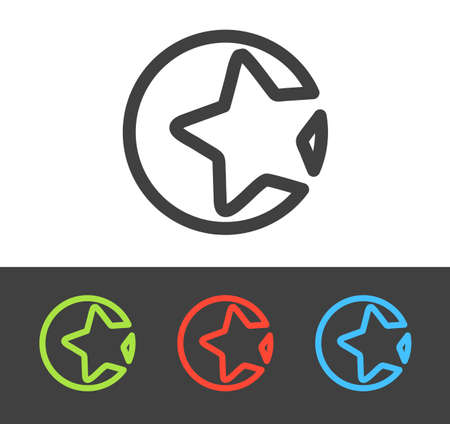 Vector star icon set, line and flat design