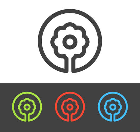 Vector flower icon set, line and flat design Vector