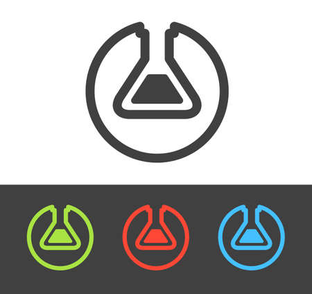 Vector chemical test tube icon set, line and flat design Illustration