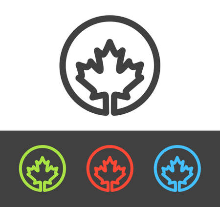 Vector maple leaf icon set, line and flat design