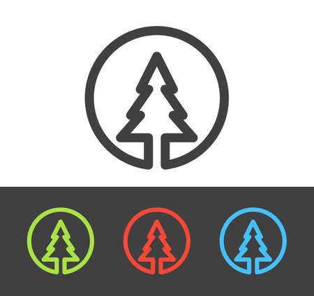 Vector Christmas tree icon set, line and flat design Illustration