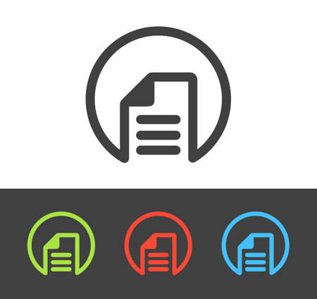 documentation: Vector document icon set, line and flat design