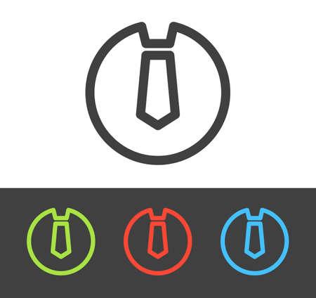 dresscode: Vector tie icon set, line and flat design Illustration