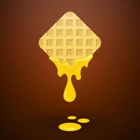 Waffles with honey, vector illustration Vector