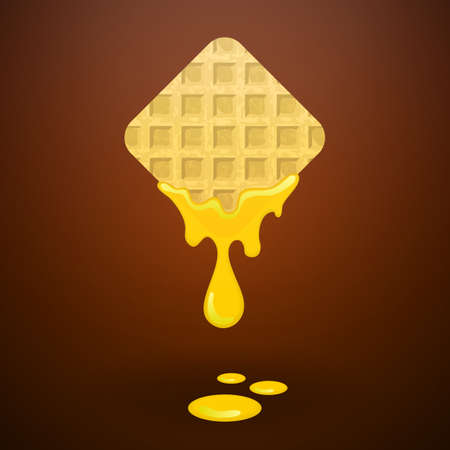 maple syrup: Waffles with honey, vector illustration