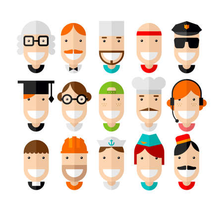 Happy smiling professions character, flat design, vector illustration